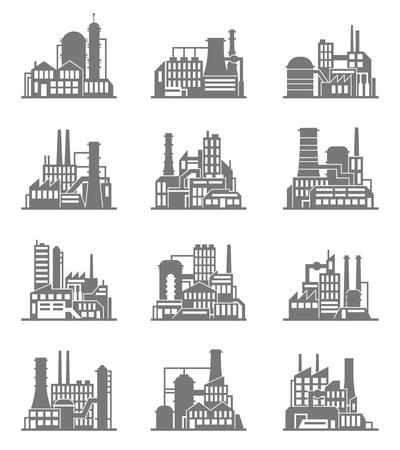 Ville industrielle construction de la construction des usines et des plantes icônes noires définies isolé illustration vectorielle