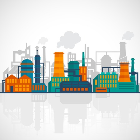 manufactory: Factory flat industry background with manufactory production technology buildings vector illustration
