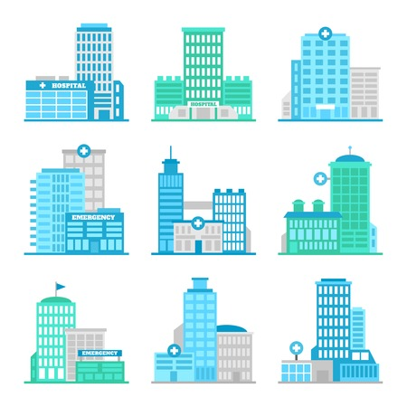 building structure: Medical building first aid modern hospital flat icons set isolated vector illustration