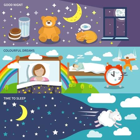 buonanotte: Banner tempo dormono insieme con la buona notte colorati sogni isolato illustrazione vettoriale