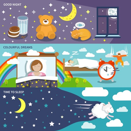 restful: Sleep time banners set with good night colourful dreams isolated vector illustration