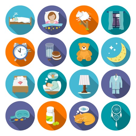 Sleep time icons flat set with window milk and cookies isolated vector illustration