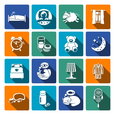 snore: Sleep time icons flat set with bedroom night sweet dreams isolated vector illustration
