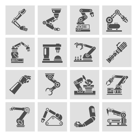 mano robotica: Fabricación robótica industria tecnológica brazo iconos negros montaje mecánico conjunto aislado ilustración vectorial
