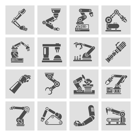 manufacturing occupation: Robotic arm manufacture technology industry assembly mechanic black icons set isolated vector illustration