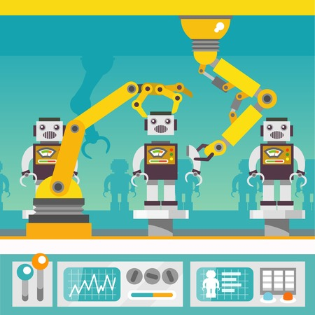 robot hand: Robotic arm mechanic equipment assembling  robots on factory concept flat vector illustration