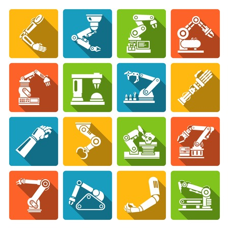 machine operator: Robotic arm production engineer technology industry assembly mechanic flat icons set isolated vector illustration