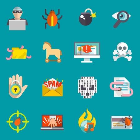 virus informatico: Hacker computadora actividad y cuenta bancaria virus de spam de correo electrónico de hacking iconos planos conjunto aislado ilustración vectorial