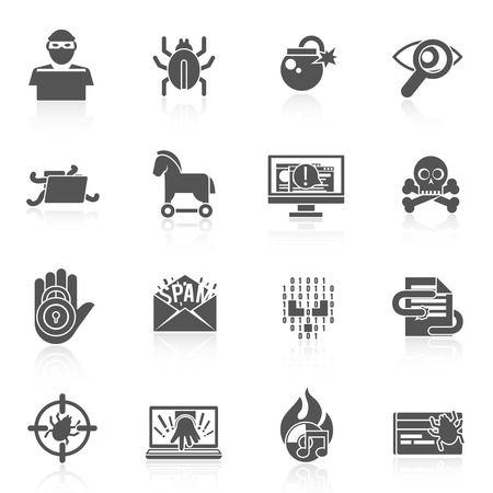 crime: Hacker black icons set with bug virus crack worm spam isolated vector illustration