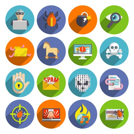 cyber: Hacker flat icons set with infected files e-mail spam viruses and bugs isolated vector illustration