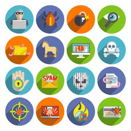 Hacker płaskie zestaw ikon z zainfekowanych plików poczty e-mail spam i wirusy błędy samodzielnie ilustracji wektorowych Ilustracje wektorowe