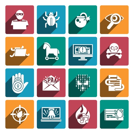 Hacker white flat icons set with spy technologies computer danger and protection isolated vector illustration Çizim