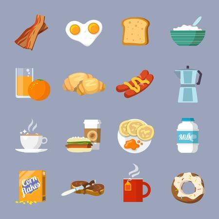 Ontbijt vers eten en drinken vlakke pictogrammen set met eieren brood croissant spek geïsoleerde vector illustratie