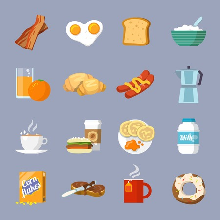 Breakfast fresh food and drinks flat icons set with eggs bread croissant bacon isolated vector illustration