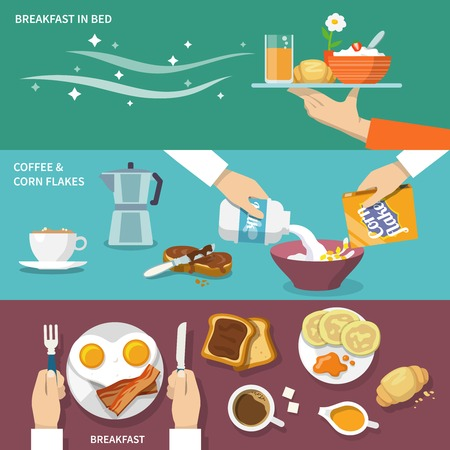 bacon and eggs: Breakfast banner flat set with coffee corn flakes bed isolated vector illustration