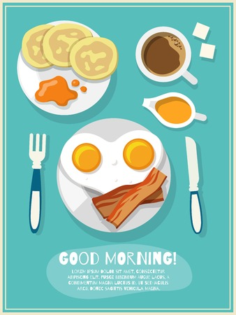 bacon art: Breakfast poster with fried eggs bacon coffee icons and good morning text vector illustration