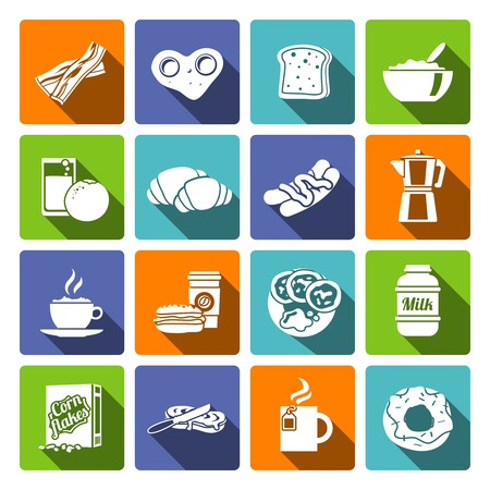 corn flakes: Breakfast fresh food and drinks flat icons set with croissant chocolate toast corn flakes fried eggs isolated vector illustration