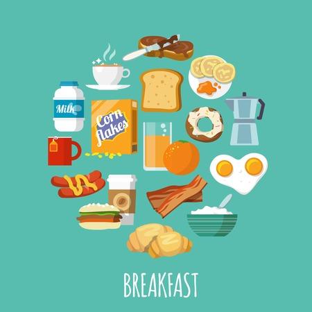 petit déjeuner: Concept de petit déjeuner avec de la nourriture et des boissons fraîches icônes plats posés illustration vectorielle