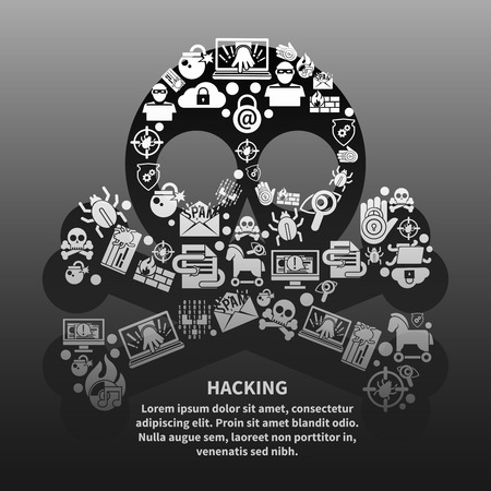 cyber security: Hacker skull and bones made of danger and protection icons poster vector illustration