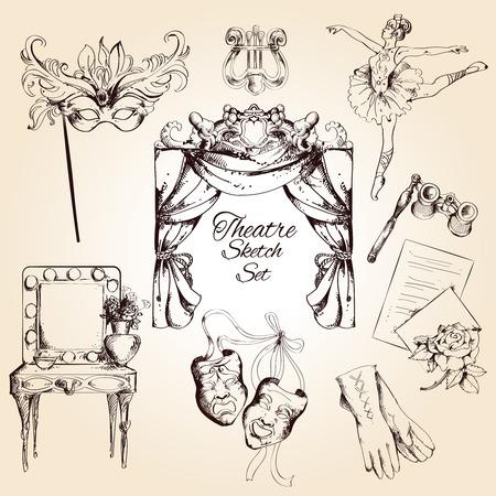 telon de teatro: Teatro de drama entretenimiento actuando rendimiento y croquis ballet iconos decorativos conjunto aislado ilustraci�n vectorial Vectores
