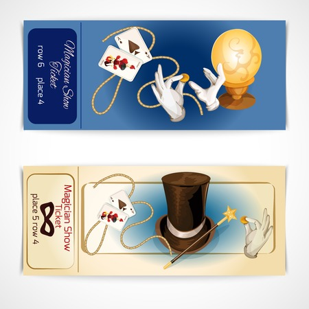 magic show: Magician show tickets set with magic and illusion accessory isolated vector illustration