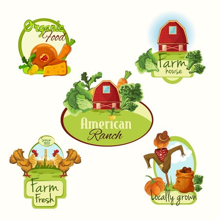 Farm organic food house american ranch fresh locally grown labels colored set isolated vector illustration