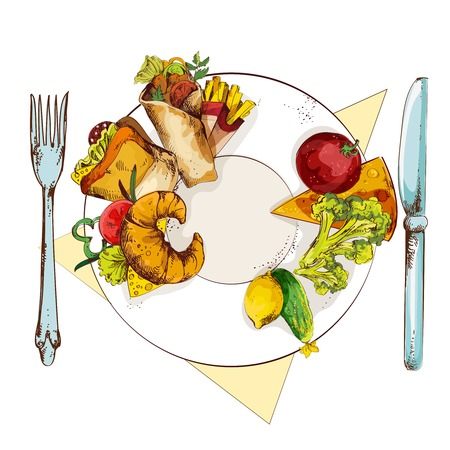 unhealthy: Veh�culos sanos y poco saludable s�ndwich franc�s fritadas croissant y rodillo en placa comida con cuchillo y tenedor ilustraci�n dibujo vectorial