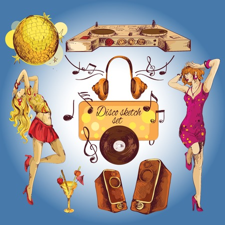 Disco party coloré icônes décoratifs esquisse fixés avec des jeunes filles sexy de danse isolé illustration vectorielle Banque d'images - 33847060