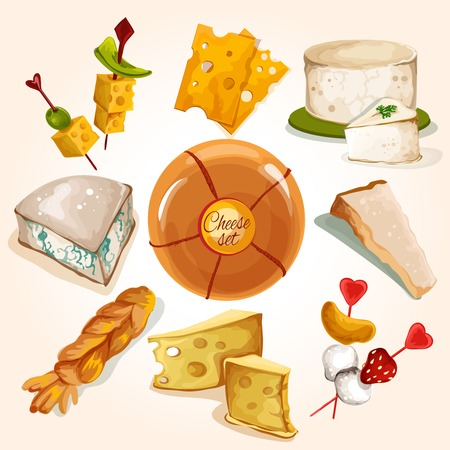 Whole cheese blocks and slices assortment food colored decorative icons set isolated vector illustration Illustration