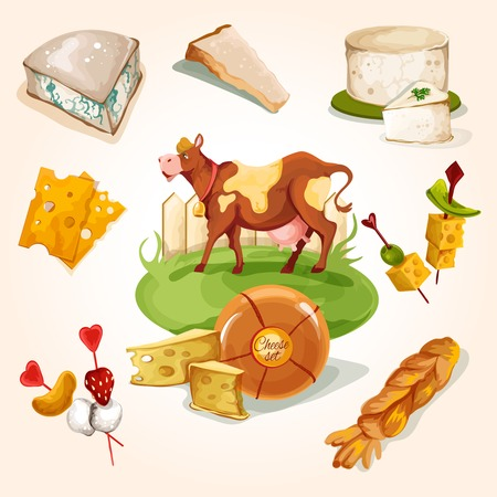 assortment: Natural cheese concept with food assortment and cow colored decorative icons set vector illustration