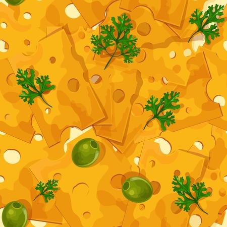 brie: Natuurlijke heerlijke smakelijke biologische gesneden kaas food assortiment gekleurde naadloze patroon vector illustratie