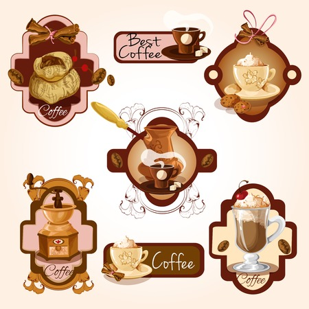 Coffee colored decorative labels set with turk beans cinnamon isolated vector illustration Illustration