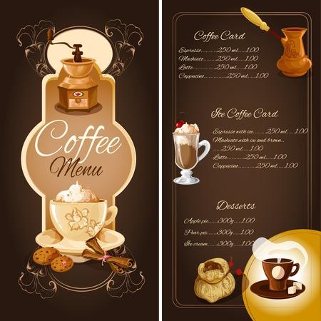 speisekarte: Cafe Men�vorlage mit hei�em Eiskaffee Desserts Elemente und Ornament Vektor-Illustration