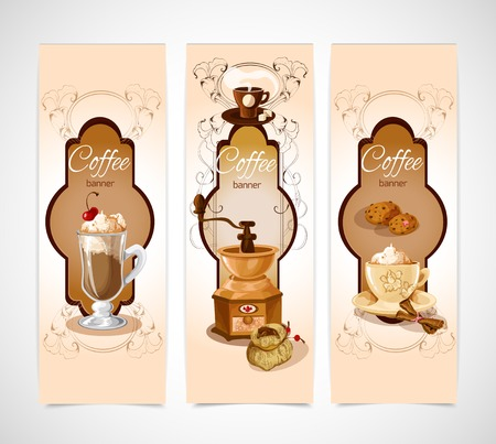 turk: Coffee colored vertical banners set with turk cookies cinnamon grinder cup isolated vector illustration
