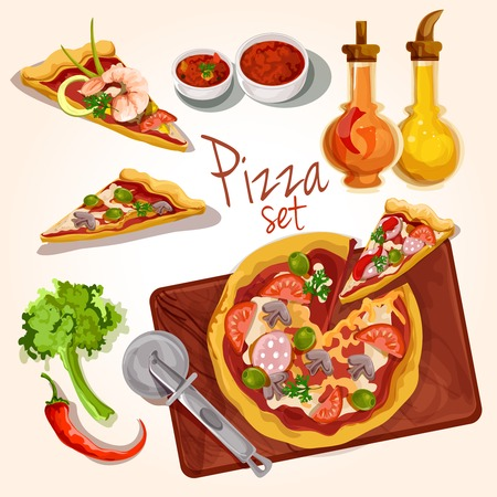 Fresh tasty italian food pizza set with plate ingredients seasoning isolated vector illustration