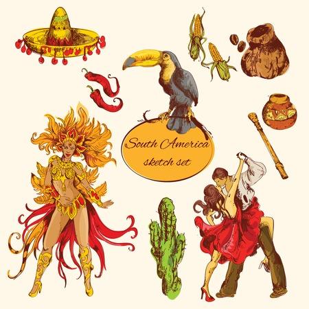 Sur américa símbolos de boceto coloreado establecen con aislados tango café de maíz ilustración vectorial