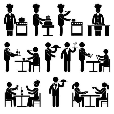 personas sentadas: Los empleados del restaurante y visitantes personas pictograma negro conjunto aislado ilustraci�n vectorial