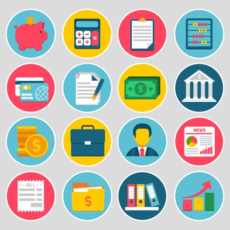 money exchange: Accounting money budget stock icons set with piggy bank calculator credit card bill isolated vector illustration