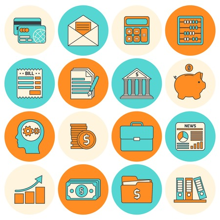 billing: Accounting investments savings billing flat line icons set isolated vector illustration