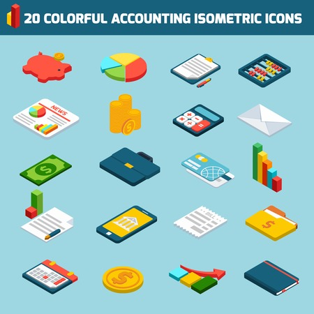 accounting design: Accounting investments savings money exchange isometric icons set isolated vector illustration Illustration