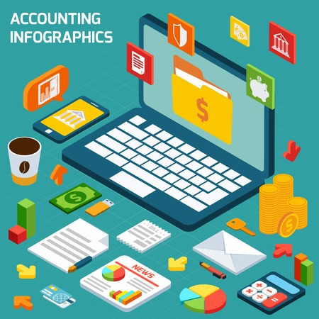 Accounting isometric infographics set with notebook and finance payment and tax elements vector illustration