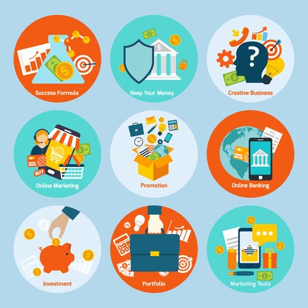 accounting design: Business concept flat icons set with success formula online marketing promotion isolated vector illustration