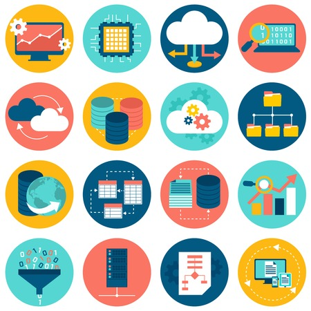 data center: Data analysis database network technology settings icons flat set isolated vector illustration