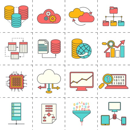Data analysis digital analytics icons flat line set isolated vector illustration Çizim