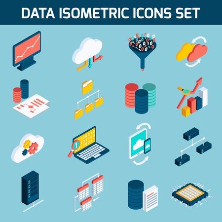 Gegevensanalyse digitale analytics data processing iconen isometrische set geïsoleerd vector illustratie