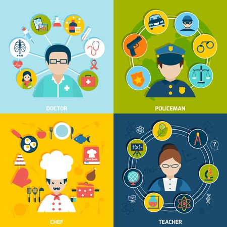 food science: People professions flat icons set with doctor policeman chef teacher isolated vector illustration Illustration