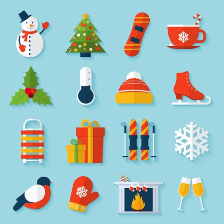 Winter stickers set with snowman christmas tree snowboard cup isolated vector illustration. Vector