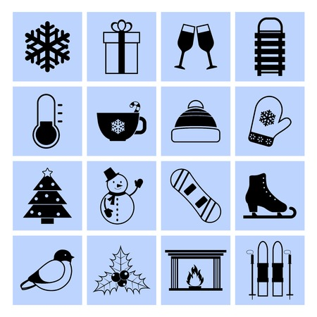 Winter icons black and white set with snowflake gift champaign sledge isolated vector illustration Vector