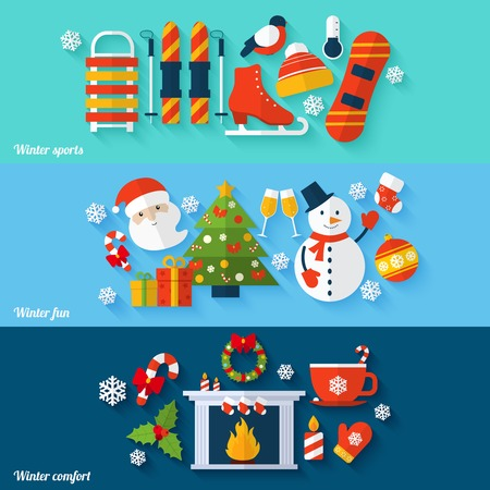 christmas fireplace: Winter sports fun comfort flat banners set isolated vector illustration