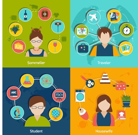 sommelier: Gente profesiones iconos planos establecen con aislado ama de casa del estudiante viajero sommelier ilustraci�n vectorial